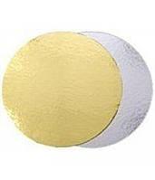 Подложка для торта круглая золотого и серебряного цвета Ø 360 мм (уп 20 шт) (E0292)