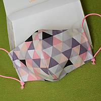 Детская маска защитная для девочек трехслойная многоразовая хлопковая. Треугольники. Отправка в день заказа