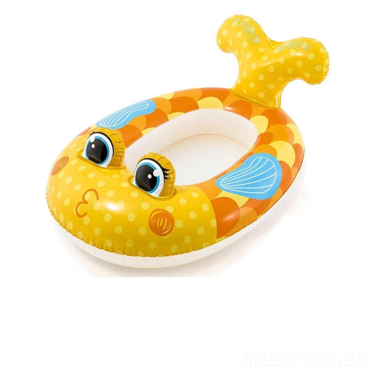 Детский надувной плавательный круг лодка для плавания купания плотик рыбка желтая Intex 59380 100х97см
