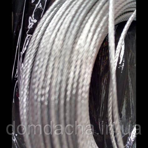 Трос сталевий оцинкований 2 мм (бухта 100 м. п.), фото 2