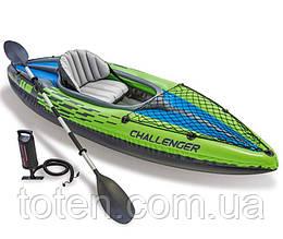 Човен-байдарка 274х76х33 см надувна Challenger К1 Kayak Intex 68305, ремкомплект, весло 210 см, насос