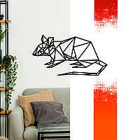 """Декоративная деревянная картина абстрактная модульная полигональная Панно """"Rat / Крыса"""""""