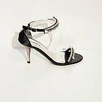 Босоножки женские текстильные на высоком клиновидном каблуке черные 38, фото 1
