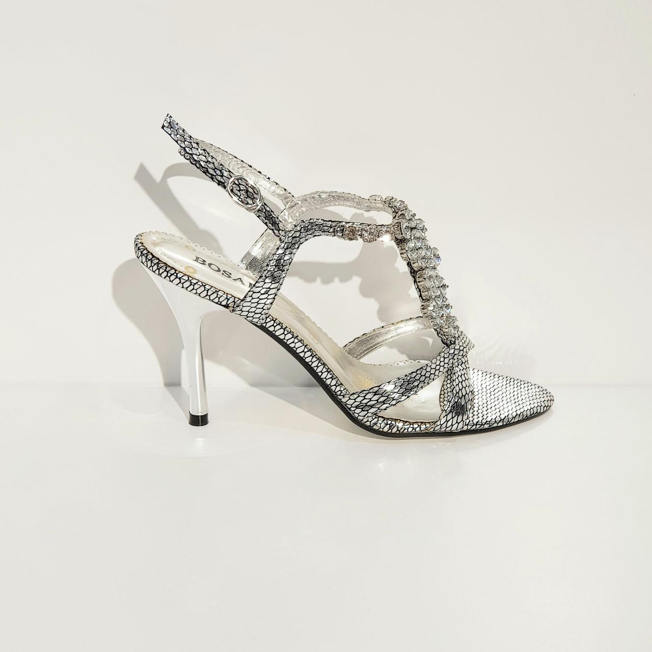 Босоножки женские текстильные на высоком клиновидном каблуке серебристые