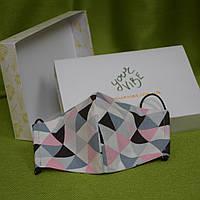 Детская маска защитная для девочек трехслойная многоразовая хлопковая. Треугольник. Отправка в день заказа