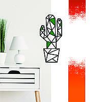 """Кактус"" декоративна дерев'яна картина абстрактна модульна полігональна Панно ""Cactus"" з вставками"