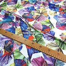 Ткань супер софт принт цветные листочки на белом, фото 2