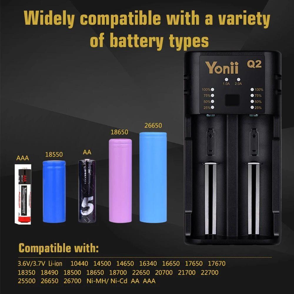 Універсальний зарядний пристрій YONII Q2 USB 2 слота для 18650 18350 26650 10440 14500 16340 3,7 В Li-ion AA