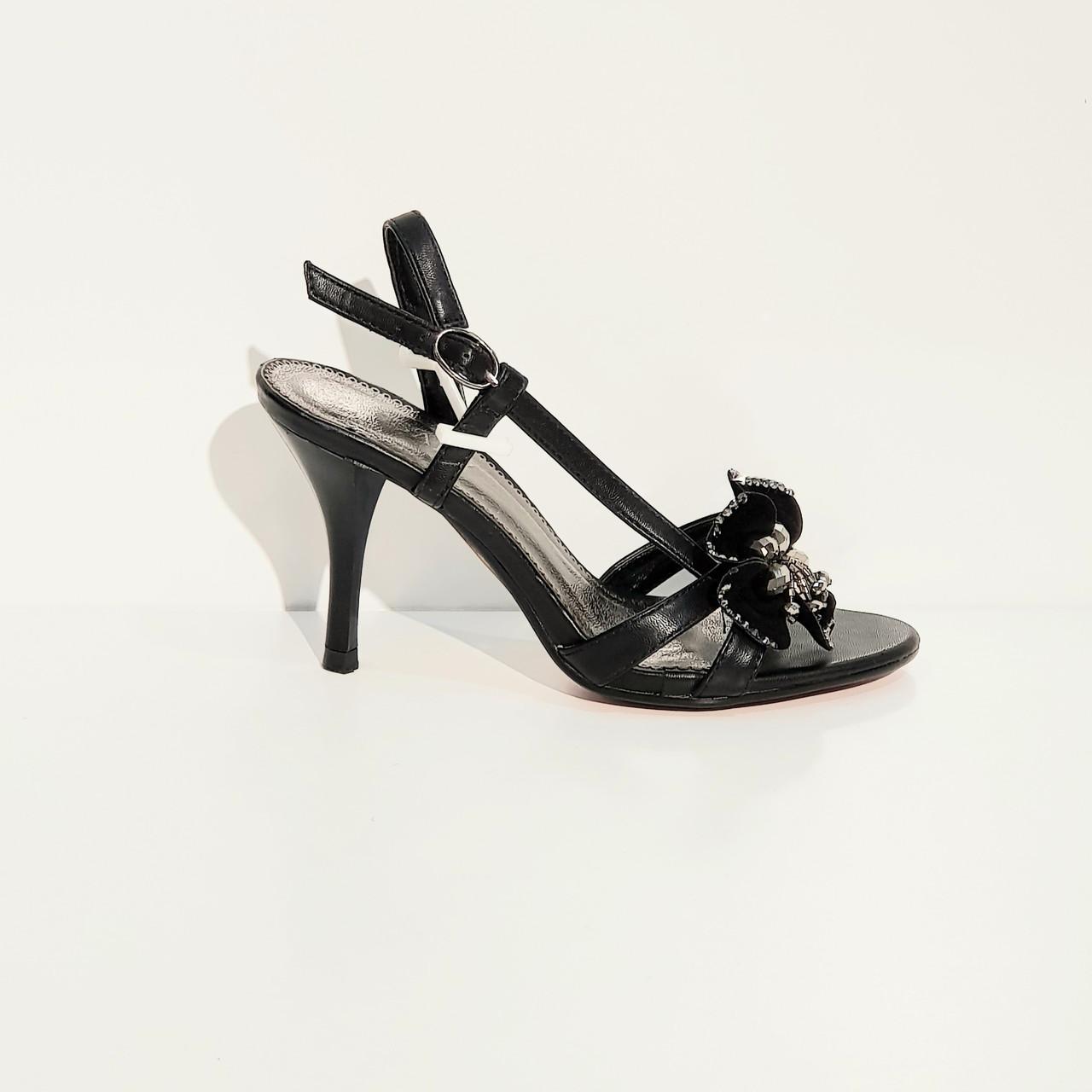 Босоножки женские искусственная кожа на высоком каблуке шпилька черные