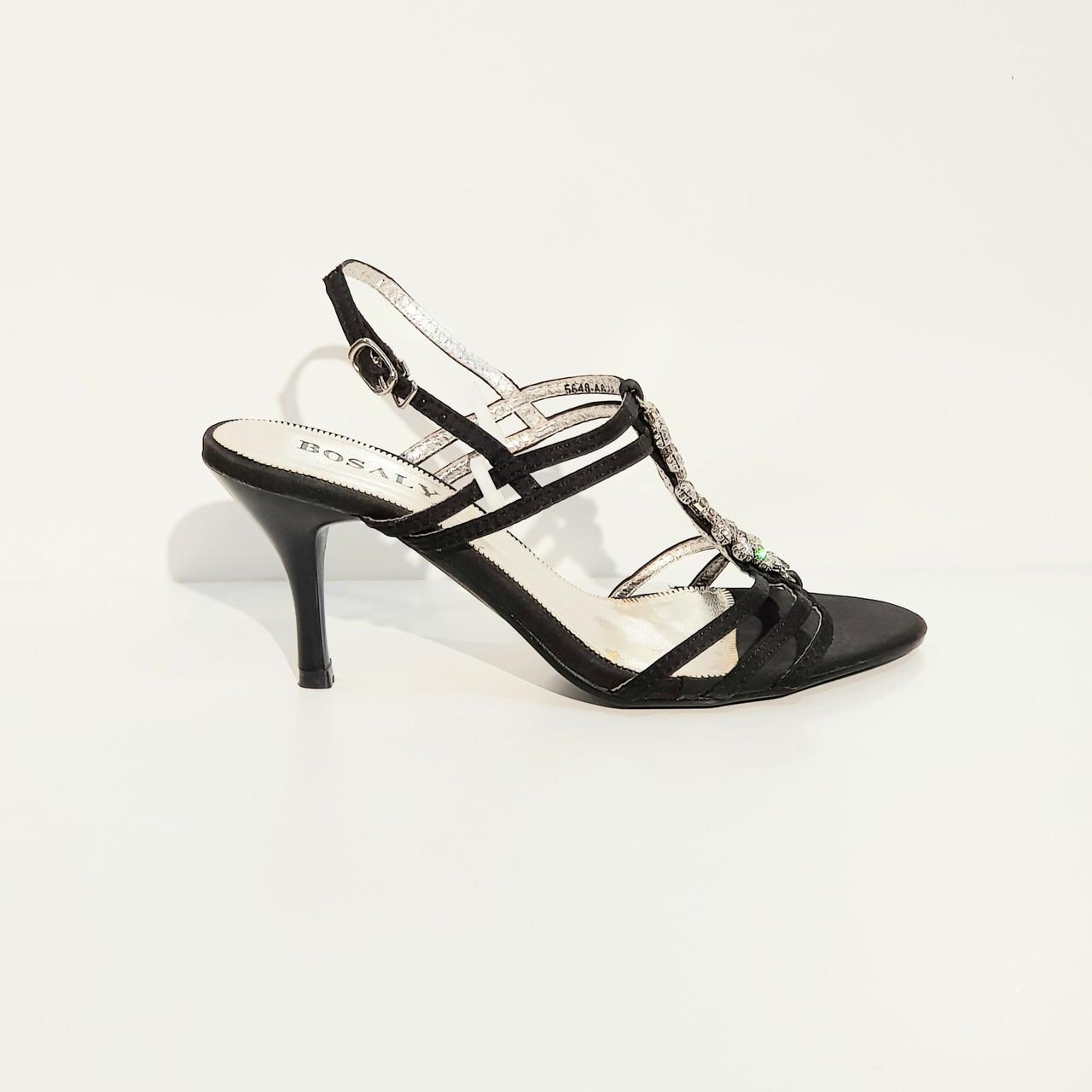 Босоножки женские текстильные на среднем клиновидном каблуке черные
