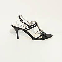 Босоножки женские текстильные на среднем клиновидном каблуке черные, фото 1