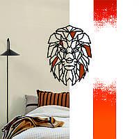 """""""Лев"""" декоративна дерев'яна картина абстрактна модульна полігональна панно """"Lion"""" з вставками"""