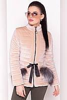 """Женская демисезонная куртка бежевая """"XS"""" (3016.1.1)"""