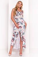 """Летнее асимметричное платье в пол большого размера - молочного цвета с цветочным принтом """"3XL"""" (12137.1.1)"""