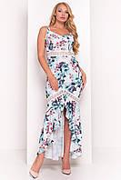 """Летнее асимметричное платье в пол большого размера - молочного цвета с принтом """"3XL"""" (12137.2.1)"""