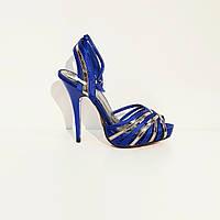 Босоножки женские текстильные на высоком каблуке и платформе синие, фото 1