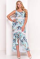 """Летнее асимметричное платье в пол большого размера - мятного цвета с цветочным принтом """"3XL"""" (12137.3.1)"""