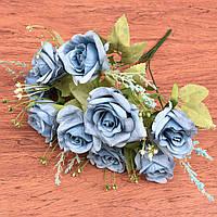 Букет розы 9 голов голубой 35см