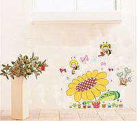 """Наклейка на стену, виниловые наклейки сказка, наклейка в детскую """"пчелки собирают мед"""" (лист60*45см)"""