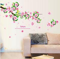 """Наклейка на стену, виниловые наклейки """"декоративное цветущее дерево с птицами"""" 66*105см (лист50*70см )"""
