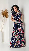 Летнее длинное платье с цветочным принтом темно-синее, фото 1