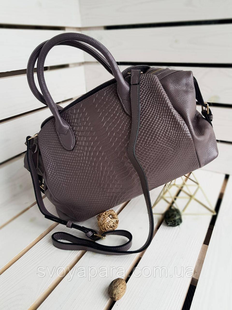 Кожаная женская сумка размером 40х25х16 см Серая (01129)