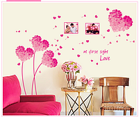 "Наклейка на стену ""розовые сердечки"", наклейки на шкаф  120*150см (лист60*90см)"