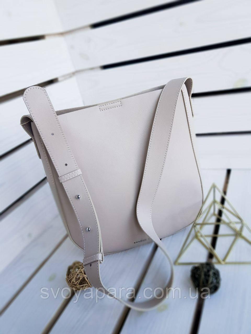 Кожаная женская сумка размером 25х18х12 см Бежевая (01150)