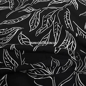 Ткань супер софт принт белые листочки на черном