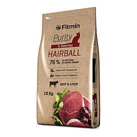 Fitmin cat Purity Hairball / комплексный корм для взрослых длинношерстных кошек (говядина и печень) Лори 400 г