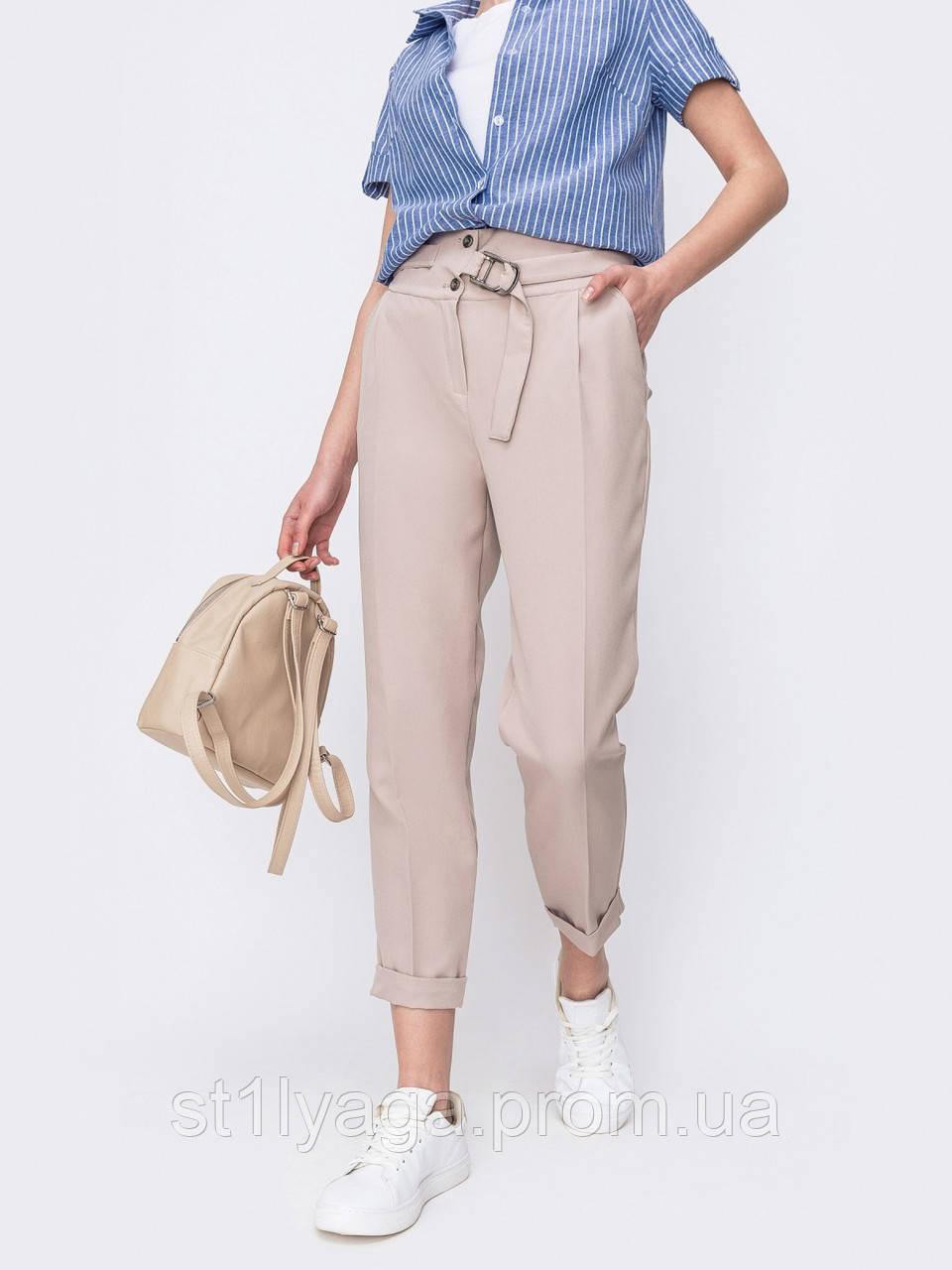 Укороченные брюки в бежевом цвете