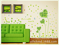 """Наклейка на стену """"зеленые цветы-сердечки"""", наклейки на шкаф  86*125см (лист50*70см)"""