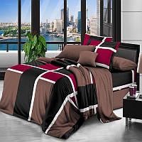 Комплект постельного белья Gold Абстракция на коричневом / G - 7256 КПБ полуторный 1.5