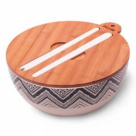 Миска Kamille 27*12.2 см из бамбукового волокна с бамбуковой крышкой и приборами КМ-4384