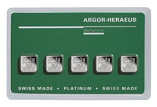 Слиток платины 5 грамм Эксклюзив Argor-Heraeus (НОВЫЙ)