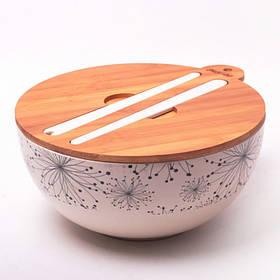 Миска 27 х 12.2 см из бамбукового волокна с бамбуковой крышкой и приборами Kamille КМ-4384