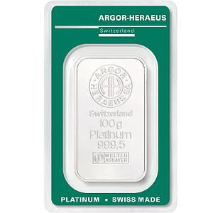 Слиток платины 100 грамм Argor-Heraeus (НОВЫЙ)
