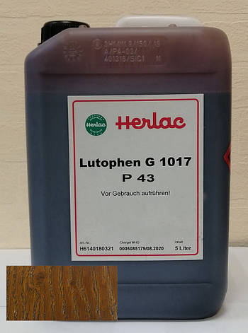 Лютофен Р43 (бейц, морилка, пропитка, краситель, нитрокраситель)  Дуб 5 л Herlac, Германия, фото 2