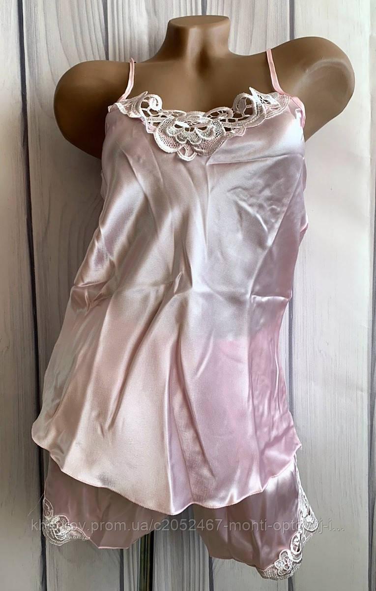 Шелковая женская пижама, пеньюар и шорты размер ХL
