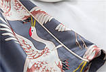 Пижамный костюм шелковый на запах. Пижама женская атласная для дома, сна, размер XL (черный), фото 10