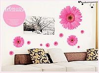 """Наклейка на стену, виниловые наклейки, стикеры """"розовые хризантемы"""" на прозрачной основе (лист45*60см)"""