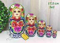 Українські розписні Матрьошки дерев'яні квіти 5 штук