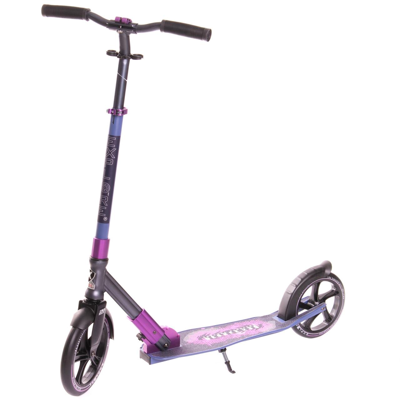 """Двухколёсный самокат Explore """"Degree 230"""" алюминиевый с ножкой, Фиолетовый"""