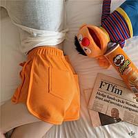 Трикотажные шорты женские с завышенной талией оранжевые короткие