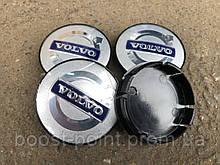 Колпачки (заглушки) в легкосплавные диски Volvo 56-59 мм серые с синим логотипом