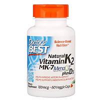 Doctor's Best, Натуральный витамин K2 MK-7 с MenaQ7 и витаминомD3, 180мкг, 60растительных капсул