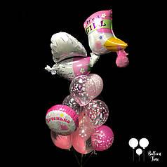 Фонтан шаров с аистом для выписки из роддома