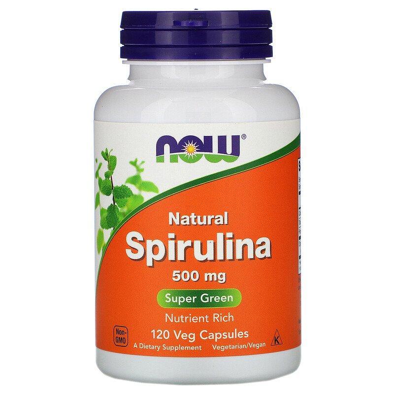 Now Foods, Натуральная спирулина, 500 мг, 120 растительных капсул
