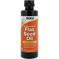 Now Foods, Сертифицированное органическое льняное масло, 355 мл
