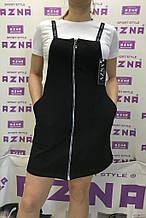 Летний комплект-двойка:сарафан и футболка черно-белый.AZNA. Літній костюм-двійка:сарафан та футболка.